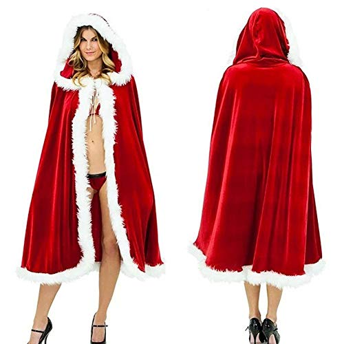 MuNiSa Christmas Costume Mrs. Santa Claus Cardigan Velvet Hooded Cape Cloak (M (Length 47.24''))