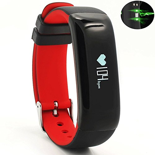 Igrosso Fitness Tracker Heart Rate Monitor Watch Blood Pressure Smart Bracelet Waterproof Wristband Activity Tracker Step Walking Distance Calorie Counter Sport Pedometor for Android IOS (Red)