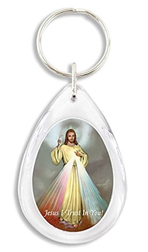 Christs Tears - The Divine Mercy Jesus Christ Icon Image on Acrylic Tear Drop Key Chain, 3 1/4 inch