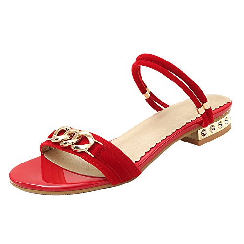Coolcept Women Fashion Strap Mules Sandals Low Heel Red ofEgKcSm