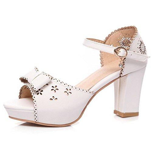 White Femmes Sandales Chaussures RAZAMAZA 8 Talons Hauts Plateforme ZyOqYd