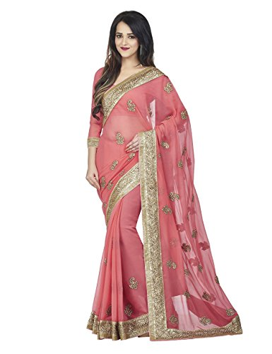 OOMPH-Womens-Chiffon-Embroidered-Saree-Embroidered-Lace-Salmon-Free-Size