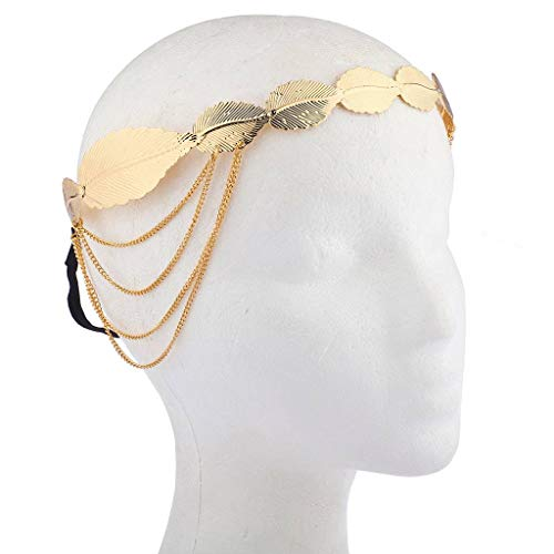 Lux Accessories Gold Tone Casted Leaf Chain Goddess Hair Crown Stretch Headband