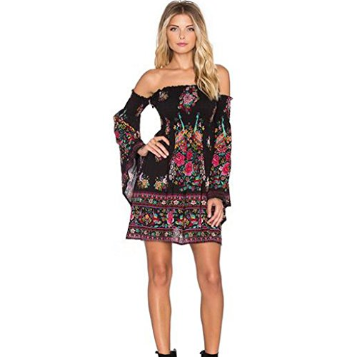 [Dress,BeautyVan Sexy Printing Flare Sleeve Evening Fashion Party Mini Club Dress (S, Multicolor)] (Difference Between Fashion Jewellery And Costume Jewellery)