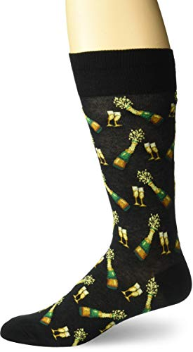 Hot Sox Men's Food and Booze Novelty Casual Crew Socks, Champagne Bottles (black), Shoe Size: 6-12