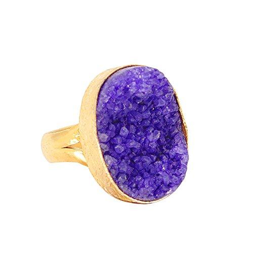 Bhagatjewels 18k Gold Vermeil Overlay Brass Oval Shape Purple Druzy Gemstone Ring Jewelry