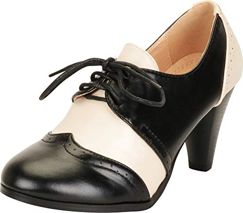 Cambridge Select Women's Retro Pinup Vintage Inspired Lace-Up Chunky Heel Wingtip Oxford,8.5 B(M) US,Black/White -