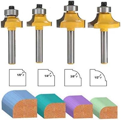 ZZB-ZT, 4pcs / Set 1/4 Zoll Schaft Carbide Rund Edging Fräser 6,35 mm Schaftradius 1/8