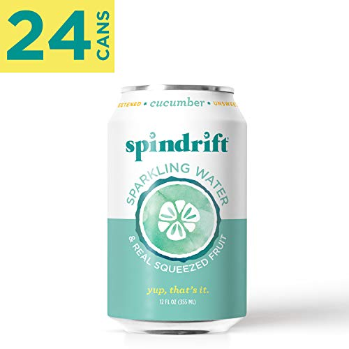 Spindrift Sparkling Water, Cucumber Flavored, Made with Real Squeezed Fruit, 12 Fluid Ounce Cans, Pack of 24 (Only 2 Calories per Seltzer Water Can)