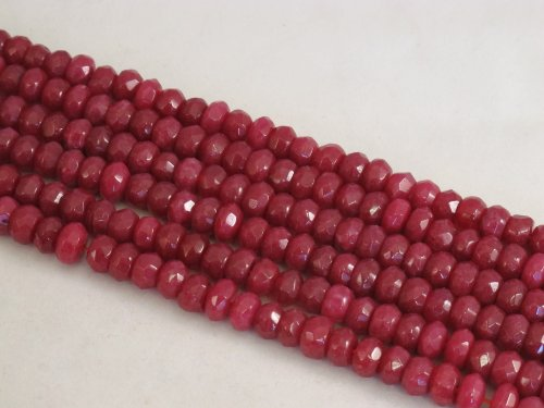Mountain Jade (Dyed) Red Color 5x8mm Rondelle 76pcs 15.5'' Per Strand (Mountain Jade Beads)