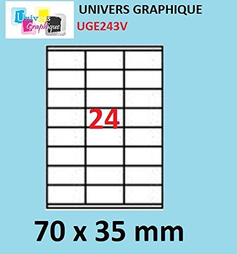 480 etichette, 70 x 35 mm, 20 fogli di formato A4 autoadesiva 24 etichette per foglio A4 per stampante a getto d' inchiostro e laser 70x 35mm UNIVERS GRAPHIQUE UGE243V