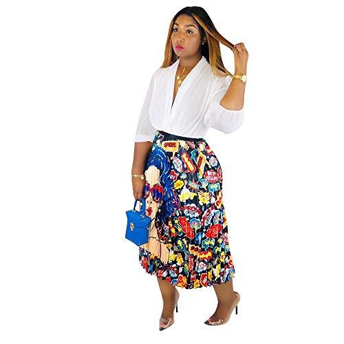 Women's Graffiti Pleated Skirts Cartoon Printed Elastic Waist A-Line Maxi Long Summer Skirt