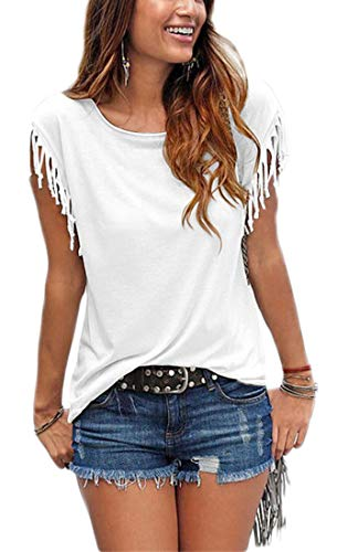 Womens Summer Tassles and Fringes Sleeve T Shirts Crew Neck Short Sleeve Casual Cute Blouse Tops for Junior (White, X-Large)