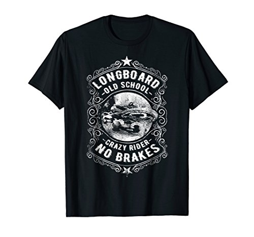 Mens Longboard Old School No Brakes Vintage Retro Skater T Shirt 2XL Black