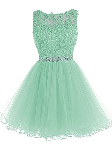 WDING Short Teen Dresses Appliques Beads Backless Party Dress for Junior Mint,US14