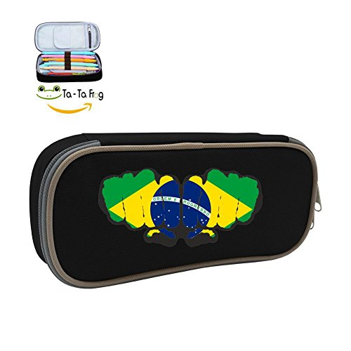 Brazil Football Soccer Team Pen Case - Canvas Pencil Bag Large Capacity Stationary Box Double Zipper For Students-Black (Double Case Football Case)