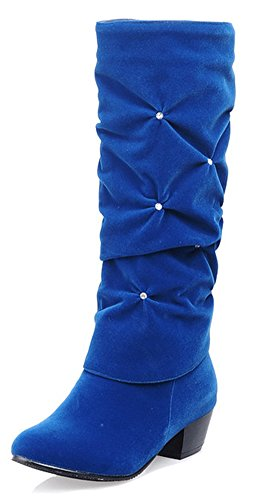 Aisun Women's Rhinestone Dressy Round Toe Pull On Mid Stacked Heels Ruched Slouchy Under The Knee High Boots (Royal Blue, 10 B(M) US)