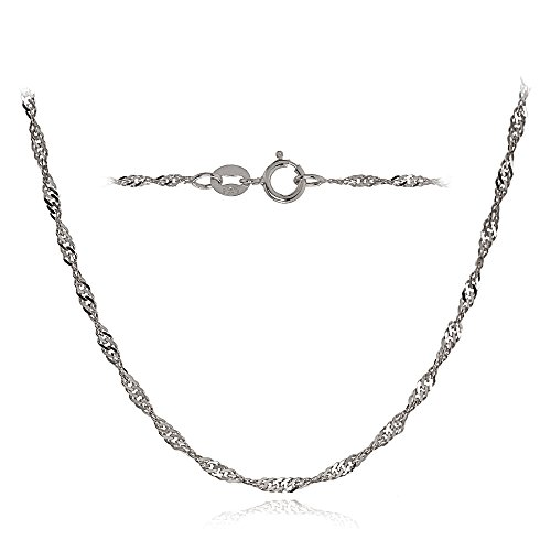 Bria Lou 14k White Gold 1.4mm Italian Singapore Chain Necklace, 24 Inches by Bria Lou
