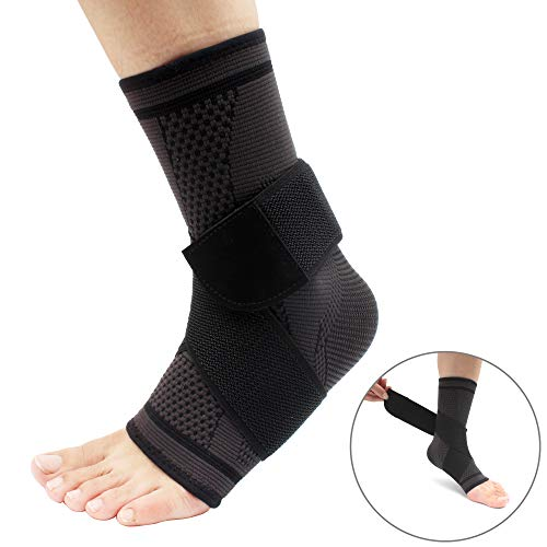 Ankle Brace Adjustable Breathable Ankle Support with Elastic Fabric Compression Ankle Wrap for Sports Protect, Ankle Sprain, Plantar Fasciitis (Medium)