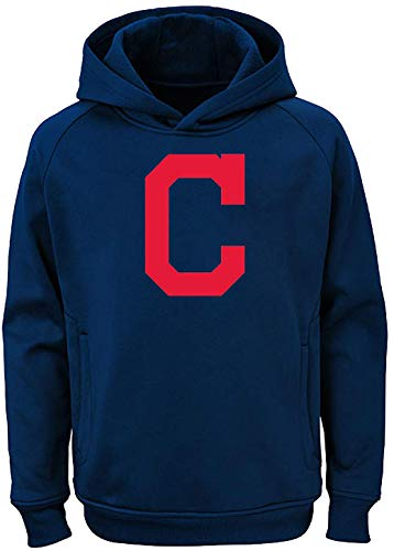 Outerstuff MLB Youth 8-20 Team Color Polyester Performance Primary Logo Pullover Sweatshirt Hoodie (Medium 10/12, Cleveland Indians)