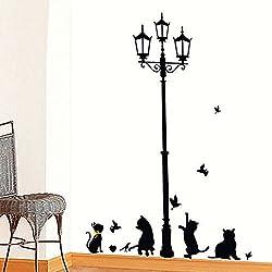 Ieasycan Ancient Lamp Black Cats and Birds Cartoon Wall Sticker DIY Wall Mural Home Decor Kids Baby Room Decals Door Decoration Stikers