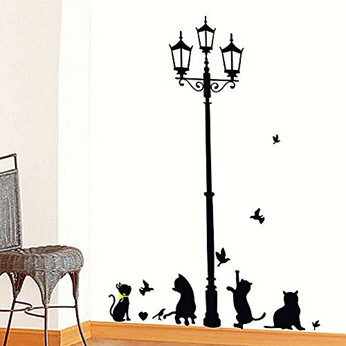 Ieasycan Ancient Lamp Black Cats and Birds Cartoon Wall Sticker DIY Wall Mural Home Decor Kids Baby Room Decals Door Decoration - In Outlets Lee Mass