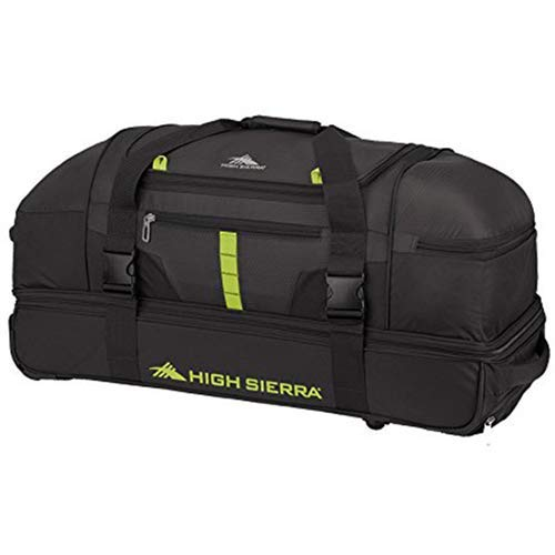 Large Duffel Roller - High Sierra Evolution Drop Bottom Wheeled Duffel Bag, Black/Zest, 30