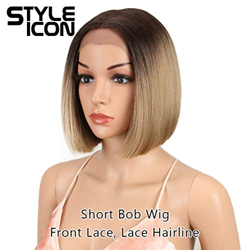Style Icon Short Bob Wig Lace Front Wig with Baby Hair Middle Part Lace Wig for Women Heat Resistant Replacement Wig Density 130% Synthetic Wig (9.5 INCH, TT6/23) ()