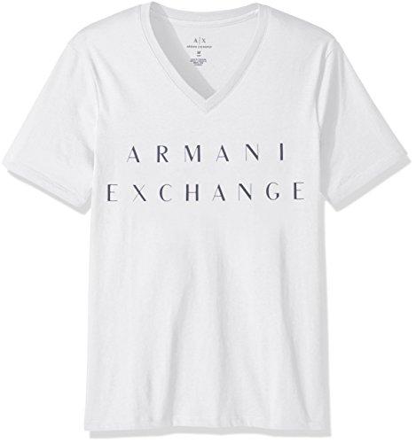A|X Armani Exchange Men's V Neck Cotton Logo Shirt, White, L ()