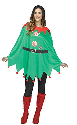 UHC Women's Elf Poncho Outfit Holiday Theme Party Fancy Dress Christmas Costume, OS (Holiday Theme Party Costumes)