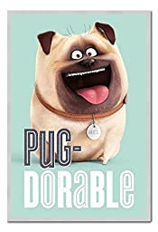 The Secret Life Of Pets Mel Pug-Dorable Poster Magnetic Notice Board Silver Framed - 96.5 x 66 cms (Approx 38 x 26 inches)