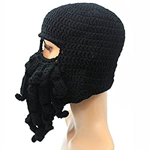 7d02f821009ba GIANCOMICS Funny Tentacle Octopus Beanie Crochet Knit Beard Hat Wind ...