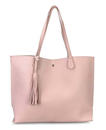 Pink Leather Tote Bag (Minimalist Clean Cut Pebbled Faux Leather Tote Womens Shoulder Handbag (Pink))