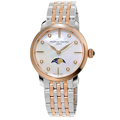Frederique Constant Geneve Slimline Ladies Moonphase Quartz FC-206MPWD1S2B Wristwatch for women