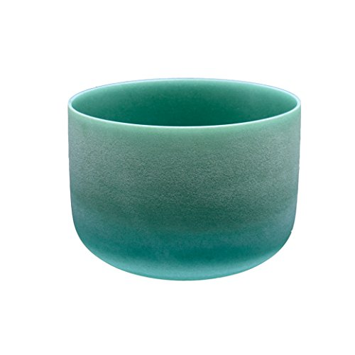 TOPFUND 417Hz Solfeggio Frequency G# Note Zeal Chakra Emerald Fusion Crystal Singing Bowl 8 inch, O Ring and Mallet Included, the 5th Chakra Sound Healing Singing Bowls Meditation, Yoga (Emerald Fusion)