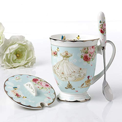 11oz Fine Bone China Coffee Mug Tea Cup with Lid and Spoon, Light Blue Vintage Floral Design Royal Teacups Gift for Women Mom with Gift Box