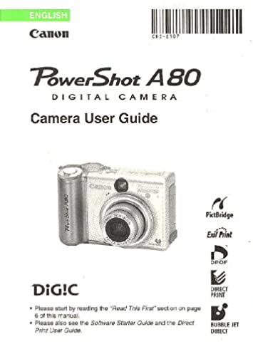 canon powershot a80 digital camera user guide instruction manual rh amazon com Cannon PowerShot A80 4 0 Mega Pixels canon powershot a80 user manual