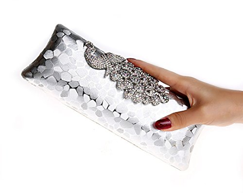 Whoinshop da donna, con brillantini, motivo: pavone, Evening Clutch Bag Argento (argento)