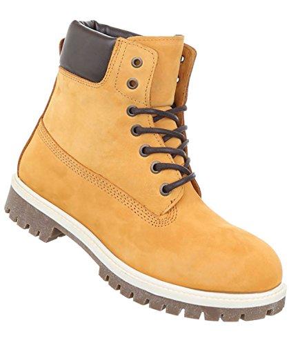 Herren Schuhe Boots Leder Schnürer Gelb