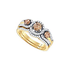 Size 7 - 14k Yellow Gold Round Chocolate Brown Diamond Bridal Wedding Engagement Ring Band Set 1.00 Cttw