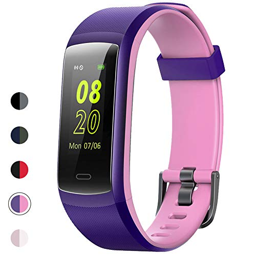 YAMAY Fitness Tracker, Fitness Watch Heart Rate Monitor Activity Tracker,Color Screen Dual-Color Bands IP68 Waterproof,with Step Counter Sleep Monitor 14 Sports Tracking for Women Men (Purple-Pink)