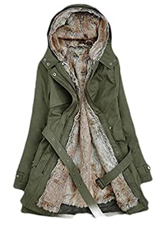 Macondoo Women's Casual Thick Fleece Lined Winter Hooded Warm Parka Jacket Coat Army Green X-Small