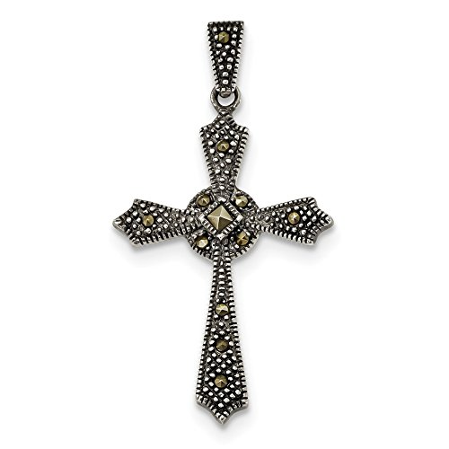(925 Sterling Silver Marcasite Iona Cross Religious Pendant Charm Necklace Passion Fine Jewelry Gifts For Women For Her)