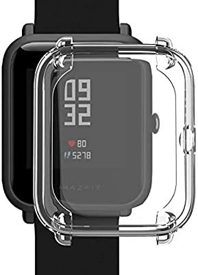Kmasic Compatible Amazfit Bip Case,2-Pack TPU Plated Screen Protector Rugged Cover [Scratch-Proof] All-Around Protective Bumper Shell Compatible Huami ...