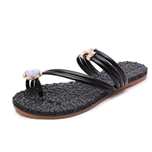 Scarpe Da Donna Anello Amuleto Fiore Massaggio Piatto Infradito Sandali Mocassini Scarpe Da Spiaggia Nere