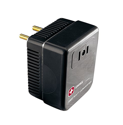 SwissGear World Travel Adapter and 1600W Power Converter with 4 Interchangeable Plug Tips, Black, One - Guess Uk Sale
