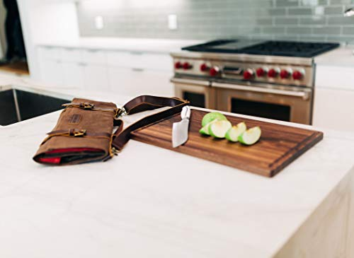 Chef's Knife Roll Bag Durable Waxed Canvas Carrier Stores 8 Knives PLUS Detachable Storage Unit for Culinary Accessories | Portable Chef Knife Case with Leather Shoulder Strap | Knives not Included by Katana Chef (Image #3)