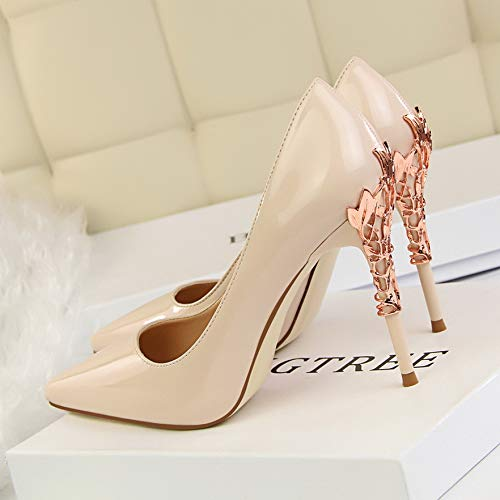 FLYRCX Europäische Europäische Europäische Mode sexy Metall Ferse Stiletto Heels flachen Mund Spitzen Lackleder einfarbig einzelne Schuhe Party Schuhe 05d7af