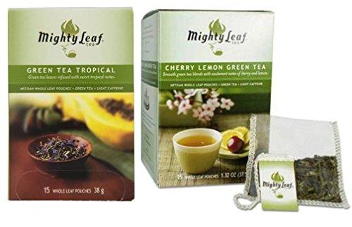 [Mighty Leaf Green Tea 2 Flavor Variety Bundle; (1) Mighty Leaf Green Tea Tropical, and (1) Mighty Leaf Cherry Lemon Green Tea, 1.32 Oz. Ea.] (Tropical Citrus Green Tea)