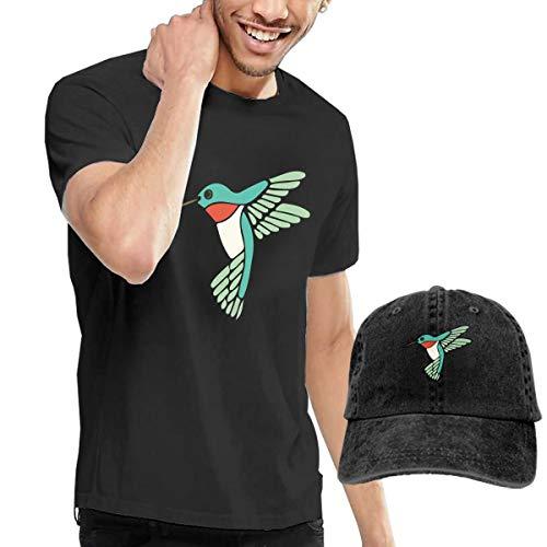 - ICE-SALT Men's Green Hummingbird T Shirt Adjustable Denim Baseball Cap Hat